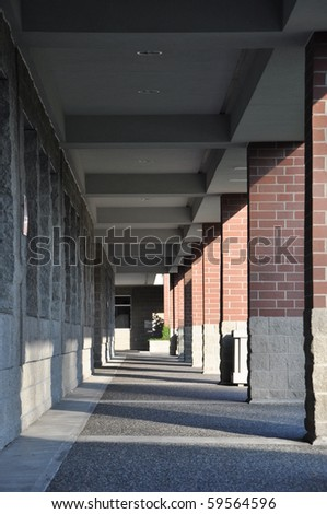 Columned hallway with shadows