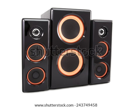 Columns and a subwoofer isolated on a white background - stock photo