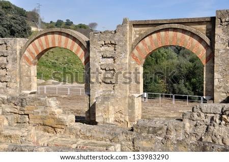 Columns and arches of Entrance Gates. Medina Azahara. Cordoba, Andalusia, Spain - stock photo