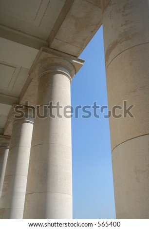 columns and blue sky