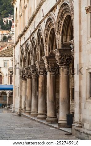 Columns and exterior of the Duke's Palace (Knezev dvor) in Dubrovnik, Croatia - stock photo