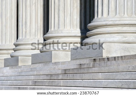 Columns and Stairs of the United States Supreme Court Building in Washington DC - stock photo