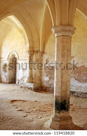 Columns and Vaulted Ceiling - stock photo
