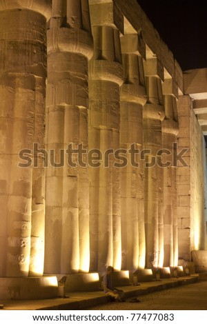 Columns at Luxor Temple in the night with lighting - stock photo