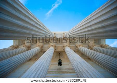 Columns at the U.S. Supreme Court - stock photo