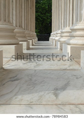 Columns at the United States Supreme Court in Washington DC - stock photo