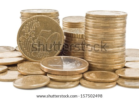 columns cents isolated on white background - stock photo