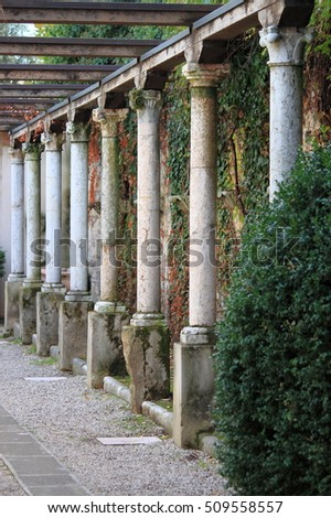 Columns in a medieval cloister in Verona, Italy