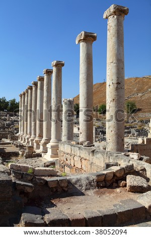 Columns in ancient Beit Shean, Israel