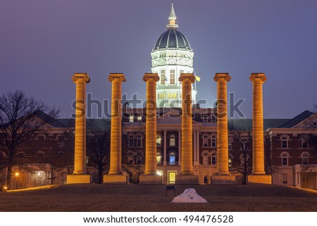 Columns in front of University of Missouri building in Columbia, Missouri, USA