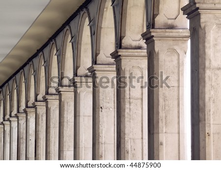 Columns in rhythm perspective - stock photo