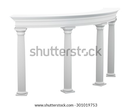 Columns in the classical style isolated on white background. 3d illustration.