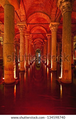 Columns inside the Basilica Cistern at Istanbul. - stock photo