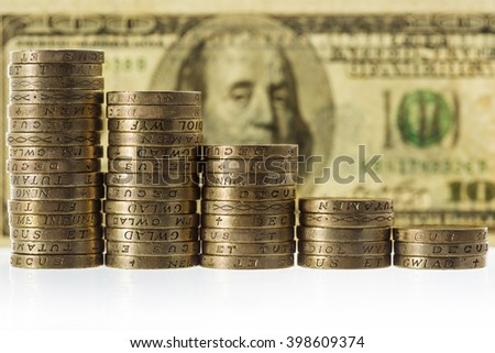 Columns of British Pound Sterling coins in decreasing heights on 100 american dollars bank note background, symbolising steep losses against the dollar. - stock photo