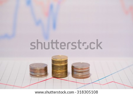 Columns of coins. Business idea. - stock photo