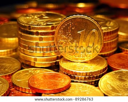 Columns of Euro Coins. Finance concept. - stock photo