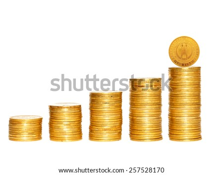 columns of gold coins isolated on white background - stock photo