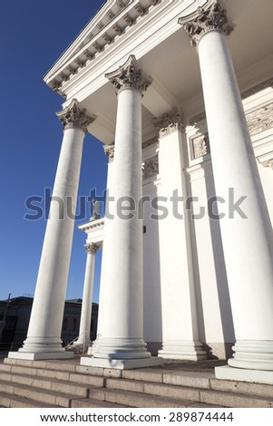 columns of helsinki cathedral and blue sky