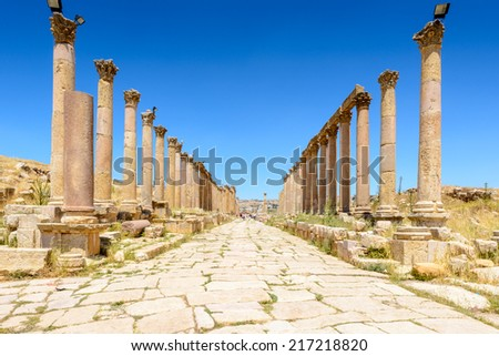 Columns of the cardo maximus in the ancient city of Jerash (Gerasa of Antiquity),