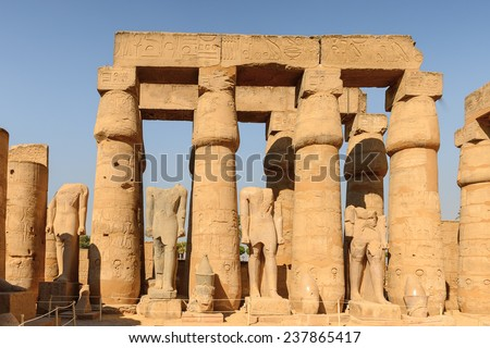 Columns of the Luxor Temple, a large Ancient Egyptian temple, East Bank of the Nile, Egypt. UNESCO World Heritage