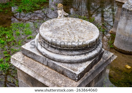 Columns of the Sanctuary of Zeus Hypsistos, Dion Archeological Site in Greece - stock photo