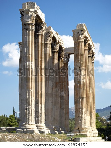 columns of the temple of Olympian Zeus, Athens Greece - stock photo