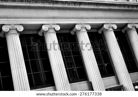 Columns on concrete building of bank court or finance