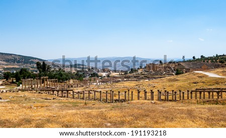 Columns raw of the Cardo Maximus Ancient Roman city of Gerasa of Antiquity , modern Jerash, Jordan