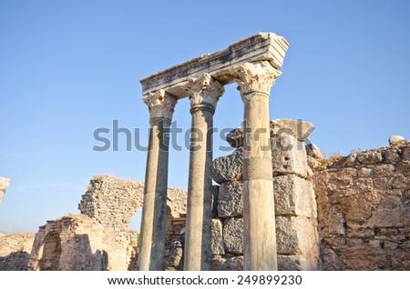 columns still standing in Ephesus ancient city (Turkey).  - stock photo