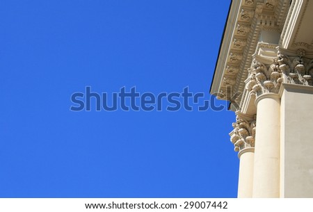 Columns with blue sky background