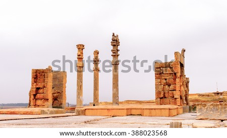 Colums and ruins of the ancient city of Persepolis, Iran. UNESCO World heritage site - stock photo