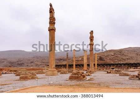 Colums of the Apadana of Darius in the ancient city of Persepolis, Iran. UNESCO World heritage site