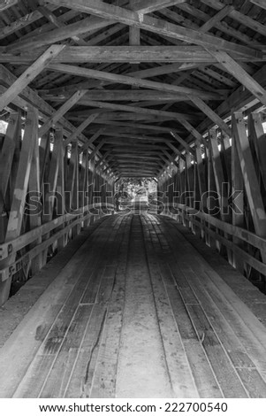 Colville Covered Bridge Interior, B&W 1 - stock photo