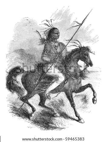 "Comanche native american warrior on a horse. Illustration originally published in Ernst von Hesse-Wartegg's ""Nord Amerika"", swedish edition published in 1880. - stock photo"