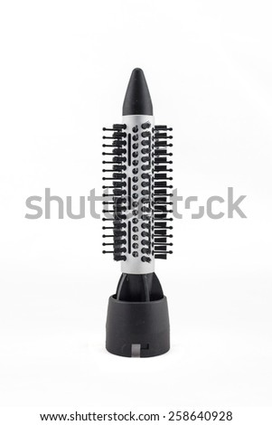 Comb brush accessories  for hair dryer  isolated on white . - stock photo