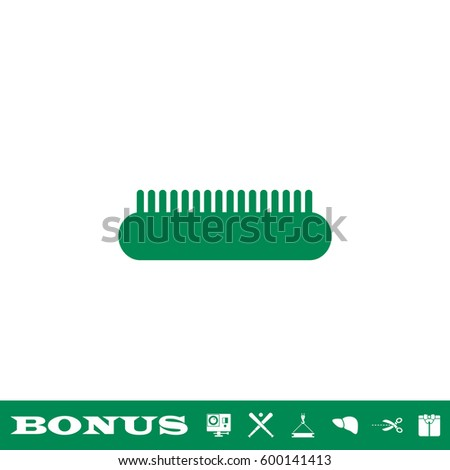 Comb icon flat. Simple green pictogram on white background. Illustration symbol and bonus button