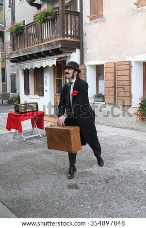 Combai, Italy, 25.10.2015, A street artist performs a mime show during the Marroni fest in Combai, Treviso (a sort of chestnuts celebration