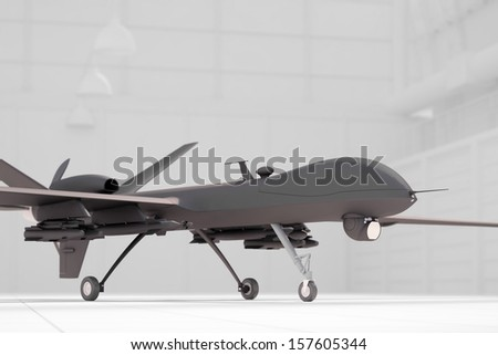 Combat drone in white hangar ready for flight - stock photo