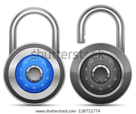 Combination Lock Collection. Security Concept. Raster version - stock photo