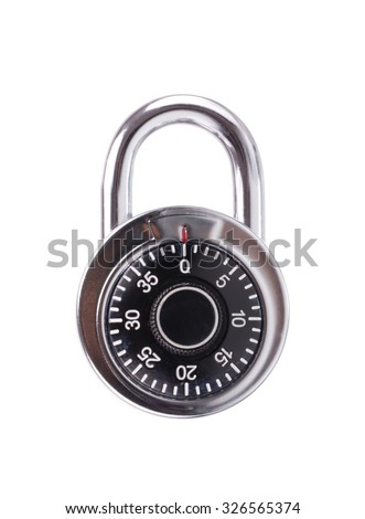 combination lock, digital code isolated on white background