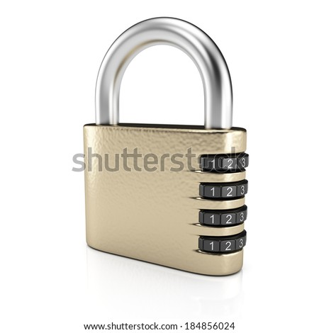 Combination lock isolated on white background. 3d rendering illustration