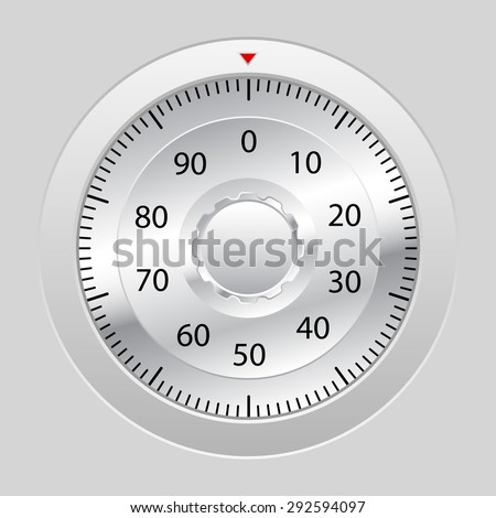 Combination lock on grey background.