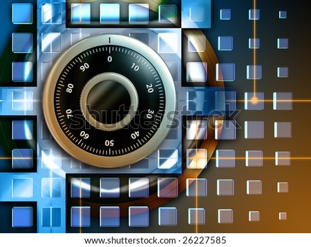 Combination lock to protect digital information. Digital illustration. - stock photo