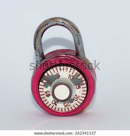 Combination lock, unlocked, on white background