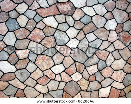 Combination of different shapes stones= Beautiful wall - stock photo
