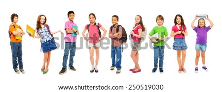 Combination of school clever kids on white - stock photo