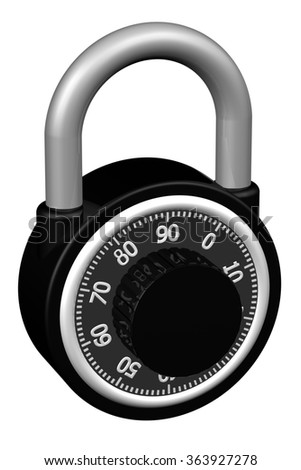Combination padlock, isolated on white background.