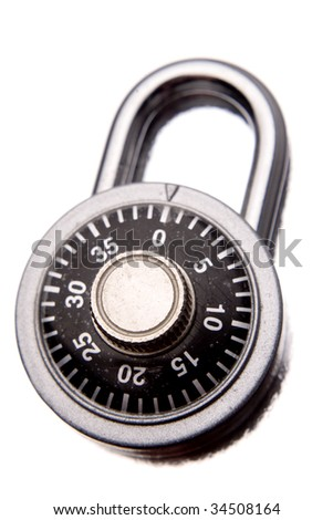 Combination padlock isolated over white