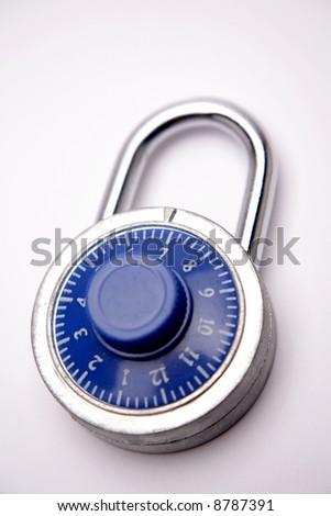 Combination padlock isolated over white - stock photo