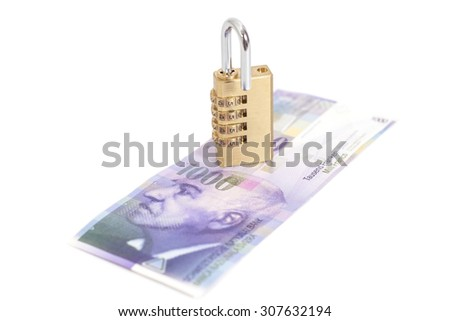 Combination padlock on Swiss francs, currency of switzerland
